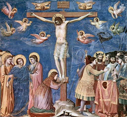 Image of Jesus Crucified, near the end of his life. A Woman weeping at the foot of the cross and Mary and the beloved disciples off to the left in deep distress