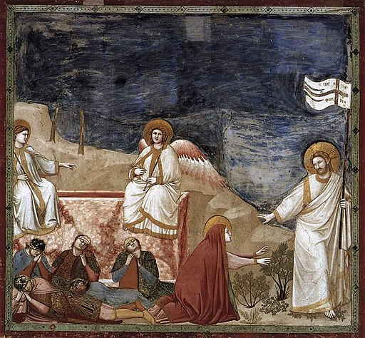 An Image of the Resurrected Christ at the tomb with angels sitting on the stones and the guards are asleep.