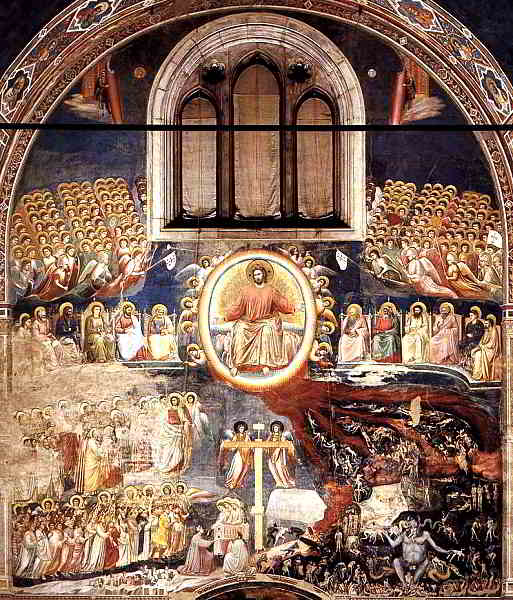 An image of Christ seated in heaven surrounded by the disciples who are sitting on thrones looking down upon the saints on the left hand sides and the demons and damned on the other.