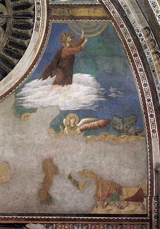 An image of Christ ascending in to heaven. The disciples are standing looking up. Unfortunately, the image has been damaged due to natural disasters in Assisi and as a result, most of the apostles cannot be seen.