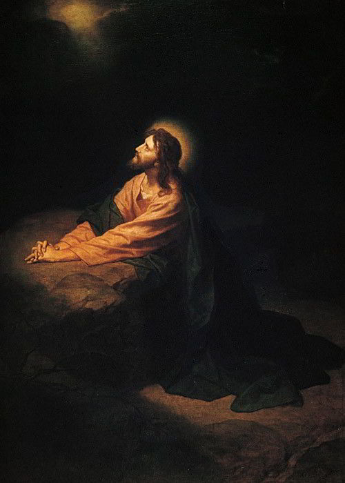 An image of Jesus Christ in prayer in the Garden of Gethsemane