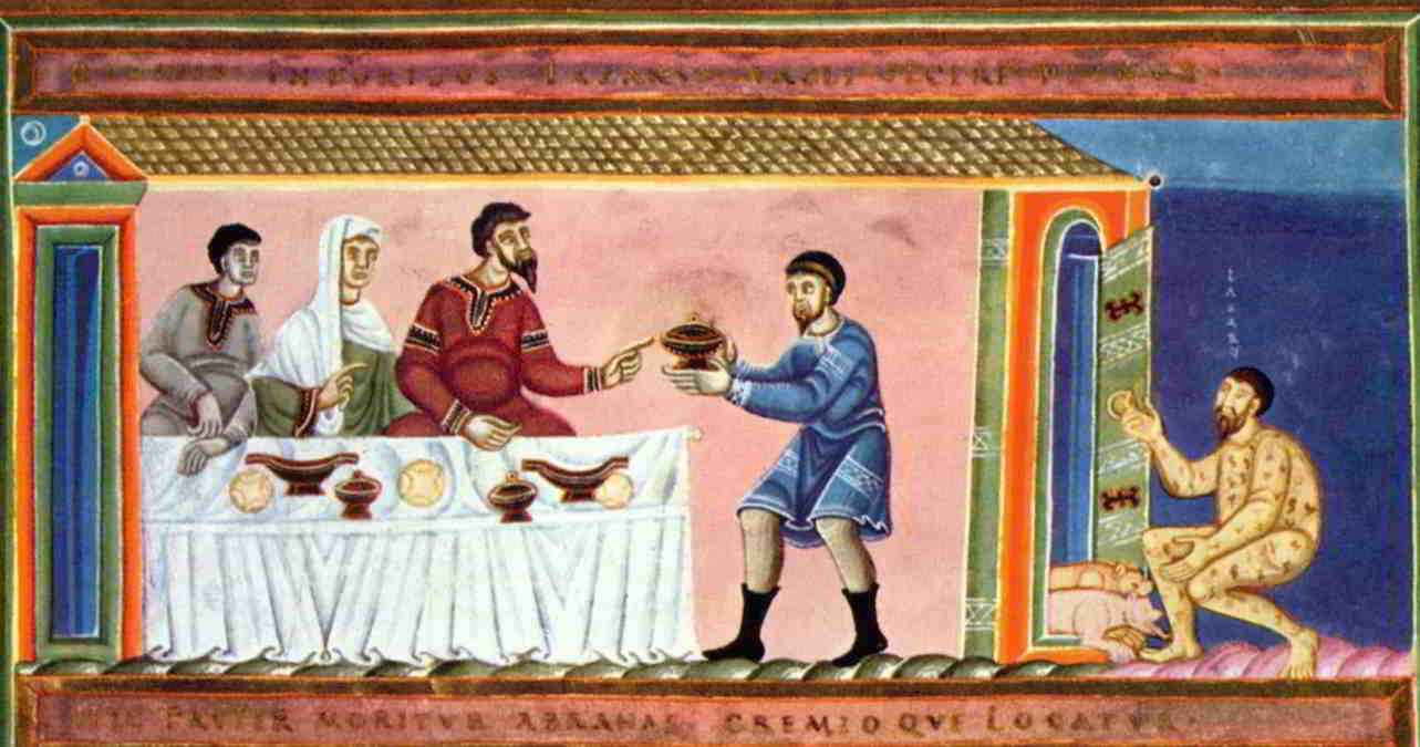 An image of the rich man and Lazarus. While the rich man is dining sumptuously, Lazarus lays outside his door with dogs at his feet licking the sores on his body.