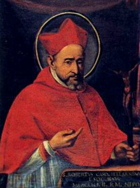 A portrait of Cardinal Bellarmine, looking at the viewer and pointing to a crucifx on his desk